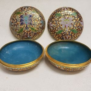 Pair of Cloisonné Chinese Round Jewelry Boxes